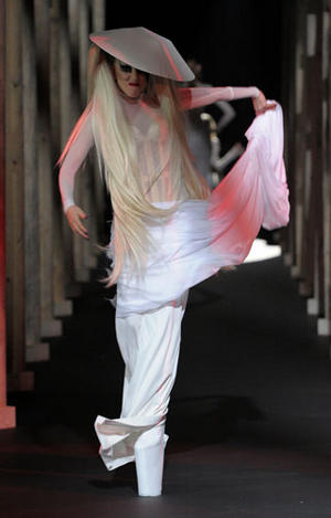 Lady Gaga walks the Mugler runway for Paris Fashion Week fall / winter 2011.