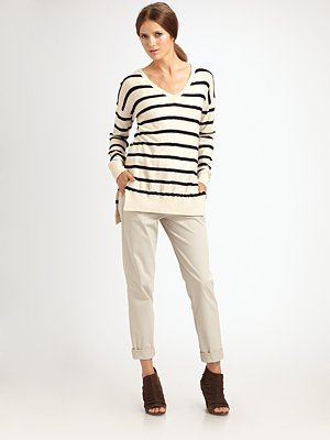 Vince Striped V-Neck Sweater at Saks.com