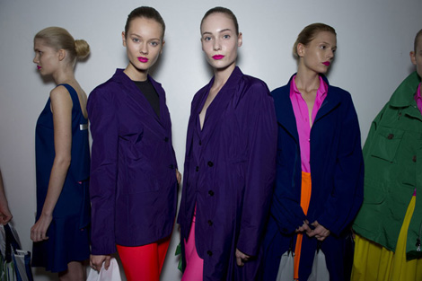 Backstage at Raf Simon's vivid techno take on sublime couture at Jil Sander