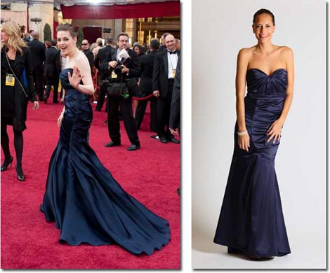 Kristen Stewart in her original red carpet gown and the Faviana celebrity-inspired version