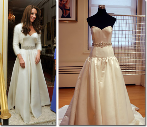 The second wedding dress that Kate wore for the reception and the Faviana version.