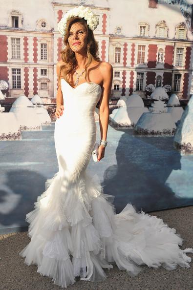 Anna Dello Russo Wearing Roberto Cavalli and A Fab Bridal Headpiece