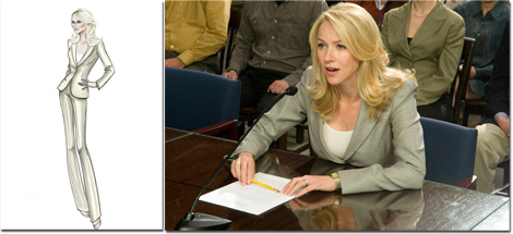"Valerie Plame Wilson wore Giorgio Armani while the events depicted in the film were unfolding, particularly when she testified before Congress. As Plame Wilson noted, ""Giorgio Armani's clothes are modern and feminine, always making me look my best and confident. This became even more important when I found myself, reluctantly, placed in the public eye."""