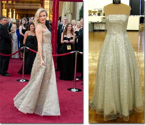 Cameron Diaz on the Oscar red carpet and the A.B.S. celebrity-inspired version of her dress