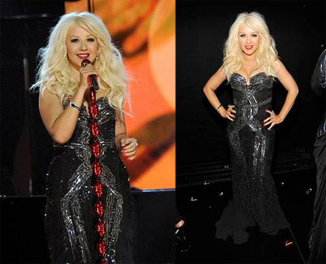 Christina Aguilera wearing  a Roberto Cavalli strapless sequin gown