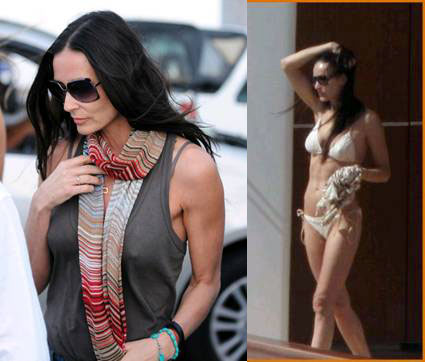 Demi Moore vacationing in St. Barts in January wearing a Missoni bikini from the Resort 2011 Mare Collection and a Missoni Scarf