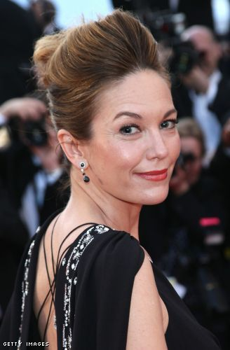 Diane Lane choses a flattering softer coralish red shade of lipstick to brighten her face
