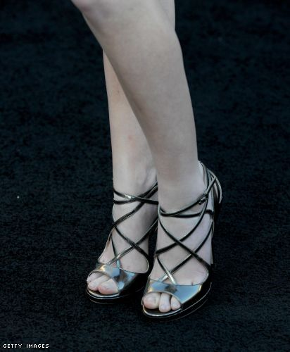 Anna Kendrick's metallic pewter strappy shoes