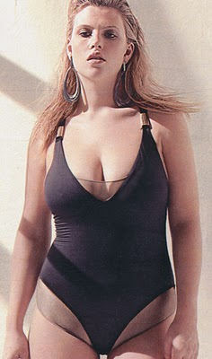 One-piece swimsuit with strategic fabric placement