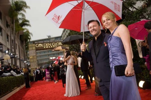 Host Ricky Gervais arrives at the 67th Annual Golden Globe Awards. Photo: HFPA