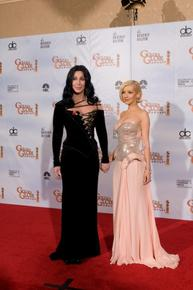 Presenters Cher and Christina Aguilera backstage