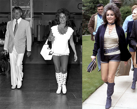 Hot Pants! Arriving with Richard Burton at Heathrow in 1971 and also spotted that year wearing nautical inspired hot pants