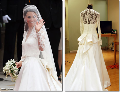 The Kate, Duchess of Cambridge's Sarah Burton for Alexander McQueen gown is the inspiration for the Faviana version.