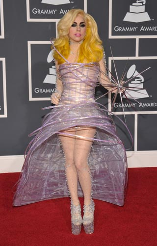 Lady Gaga in Giorgio Armani Prive at the Grammy Awards 2010