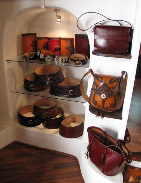 Leather bags with tooled motiff