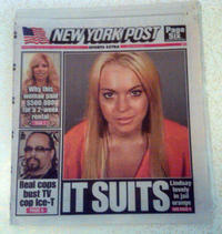 Lindsay Lohan made the cover of today's New York Post