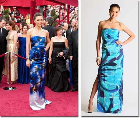 Maggie Gyllenhaal and the Faviana inspired version of her dress