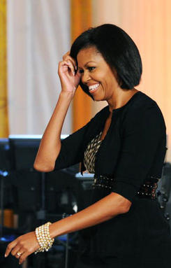 Michelle Obama wearing Loree Rodkin Multiple Stretch Bracelets with Various Accents