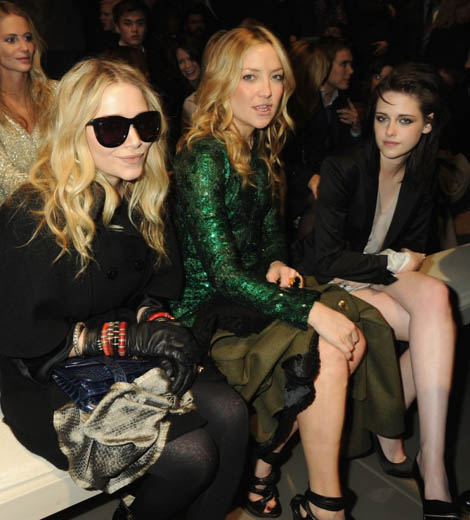 Glam girls Mary-Kate Olson, Kate Hudson, and Kristen Stewart front row at Burberry