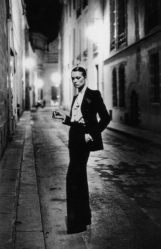 "Yves St. Laurent ""Le Smoking"" immortalized in this 1975 Helmut Newton photo"
