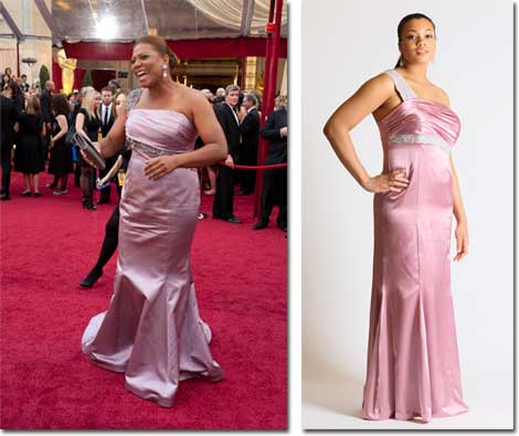 Queen Latifah on the Oscar Red Carpet and the Faviana version of the dress