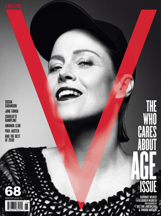 "Sigourney Weaver in Alexander McQueen on the cover of the ""The Who Cares About Age Issue,"" V MAGAZINE issue #68"