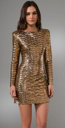 Torn by Ronny Kobo  Bella Pleated Metallic Dress at Shopbop. Sharon would like to see a long camel coat worn over this dress for chic and unexpected touch.