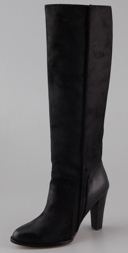 "ONE by Daniblack  Ramada Stovepipe Boots have a more ""normal"" heel and far more modern for the dress styling."