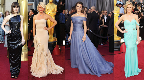 Rose Byrne, Cameron Diaz, Penelope Cruz and Missi Pyle on the Oscar Red Carpet in thier original designer dresses