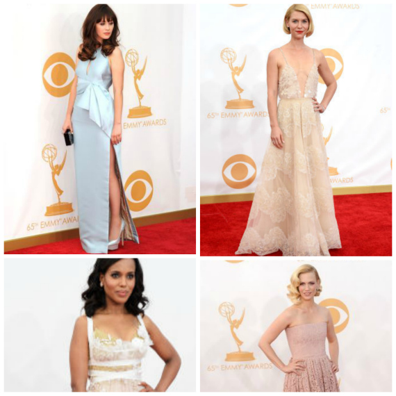 Zoey Deschanel in J Mendel, Claire Danes in Armani Prive, Kerry Washington in Marchesa, and January Jones in Givenchy