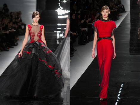 Something MAH-JOR fro Anne Hathaway for the red carpet and chic and simple for the parties. Both from Reem Acra.