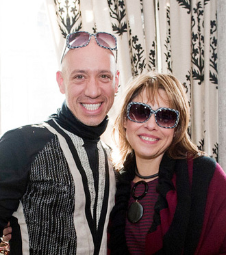 Sharon with Robert wearing a pair of sunglasses that he selected for her
