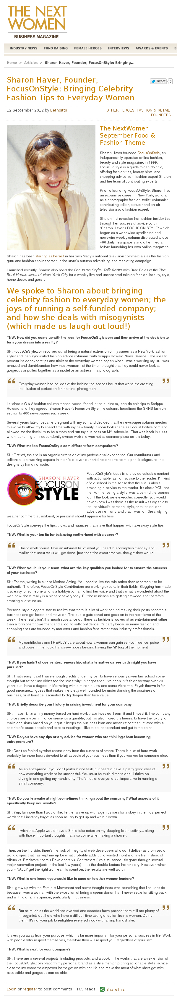 Sharon Haver interview on The Next Women business magazine