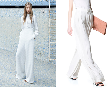 Easy, breezy palazzo pants. Left from Chloe resort 2014, right from Zara in store now