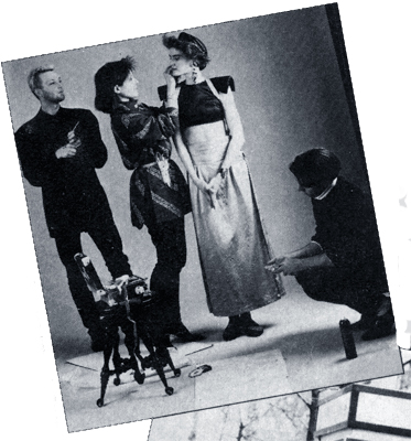 A rare photo of me on a photo shoot and it's becuase it was in a magazine! New Woman magazine did a feature story about me and here I am in a snippet photo as a stylist on the set with Brad Boles (FoS contributing editor at large) on makeup & North Rebis on hair. Yes, I still wear my Yoji Yamamoto shirt that I have on ! I kept my stylist scissors in a holster belt.